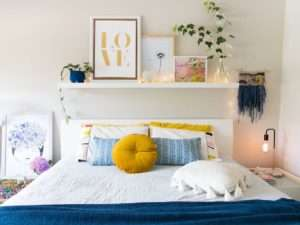 Modern cozy bedroom cleaned by home cleaning services Atlanta GA