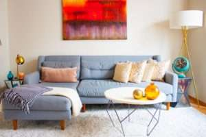 Bright living room cleaned by Atlanta move out cleaning service